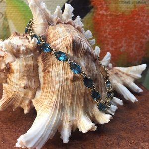 Jewelry - 14k London blue topaz and diamond tennis bracelet